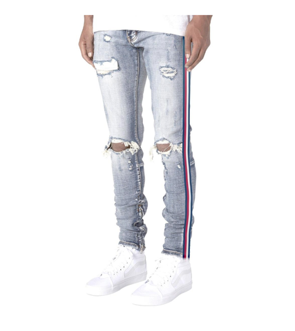 503 USA Stripe Ankle Zipper Denim (Light Wash) / C6