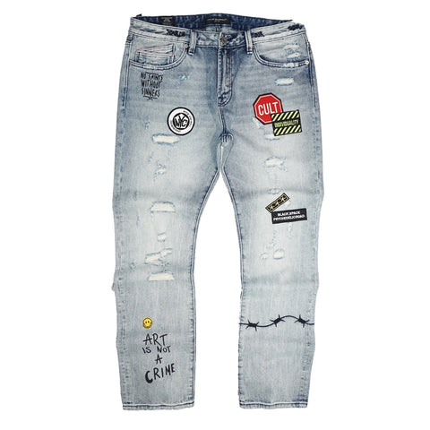 Rocker Slim Denim Jeans in Graffiti (Blue) /C4