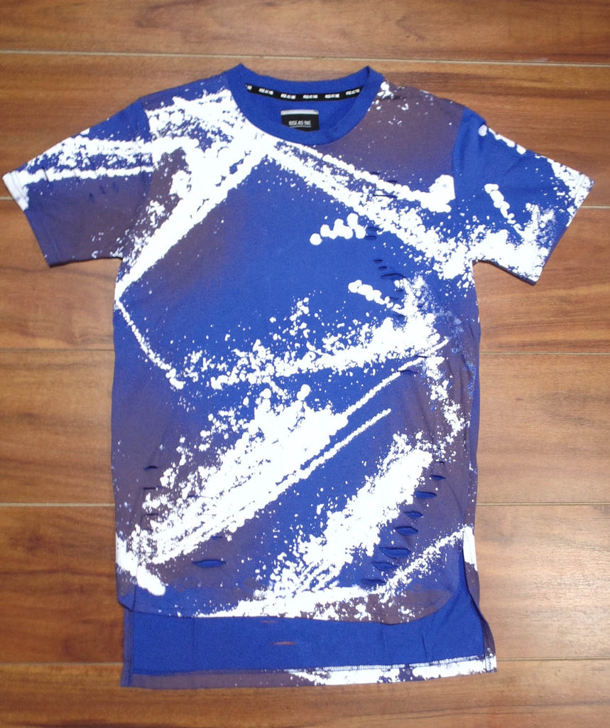 Rise As 1ne- Bleach Splatter Extended Tee (Royal)