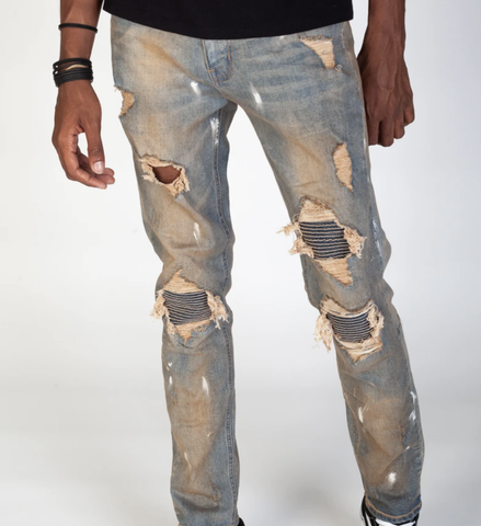 Pintuck Patch Biker Denim (Tinted M. Blue) / C1