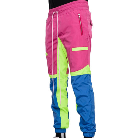 Color Block Windbreaker Pants (Pink/Blue) / D3
