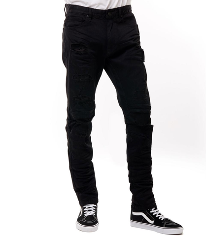 Distressed Engineered Denim (Jet Black) /C7