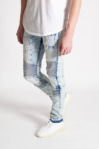 Destroyed Moto Skinny Denim (Ice Blue) /C6