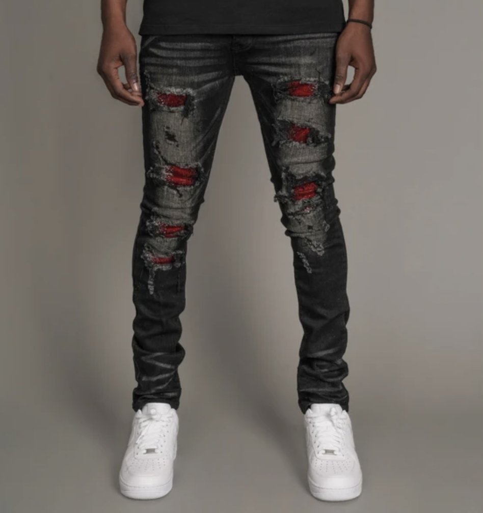 Mark Distressed Crystal Patch Denim (Blk/Red) /C1