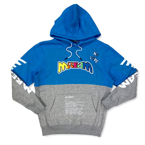 Mream Chenille Color Block Hoodie (Blue/Grey)