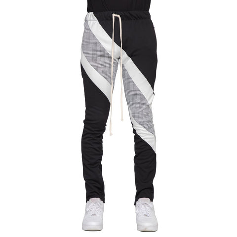 Plaid Block Track Pants (Black/Wte) / C6