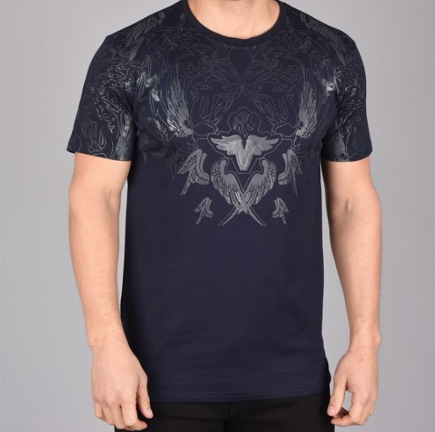 Wings Foil Print T-Shirt (Navy)