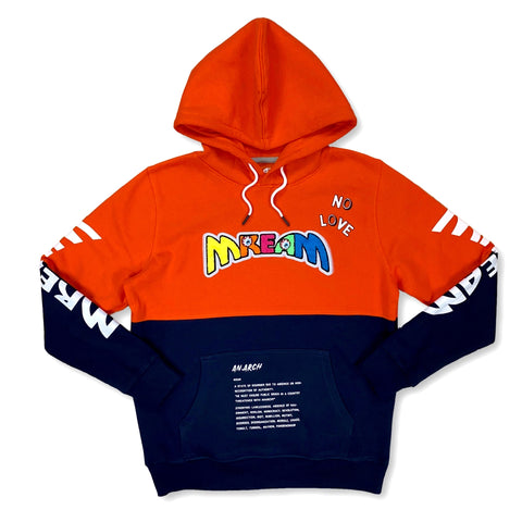 Mream Chenille Color Block Hoodie (Org/Navy)