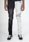Pintuck Contrast Moto Half Denim (Black/Grey) /C3