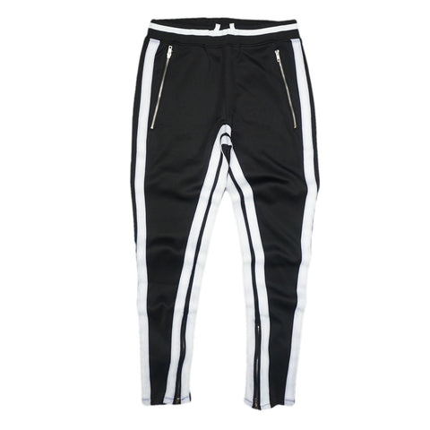 Double Striped Track Pants V2 (Black/Wte)