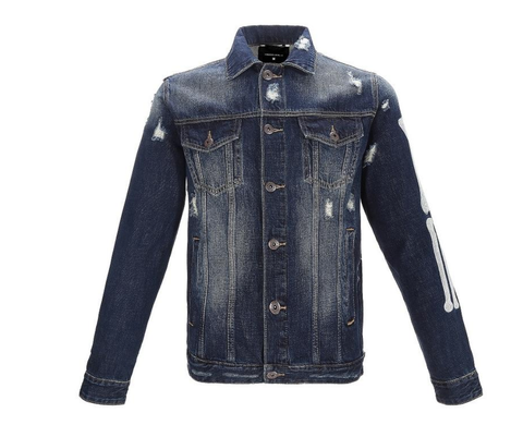 Sand Wash Embroidery Spine Denim Jacket (Dark Blue) /D?