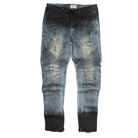 Ankle Zip Biker Denim (Smoke Blue) /C7