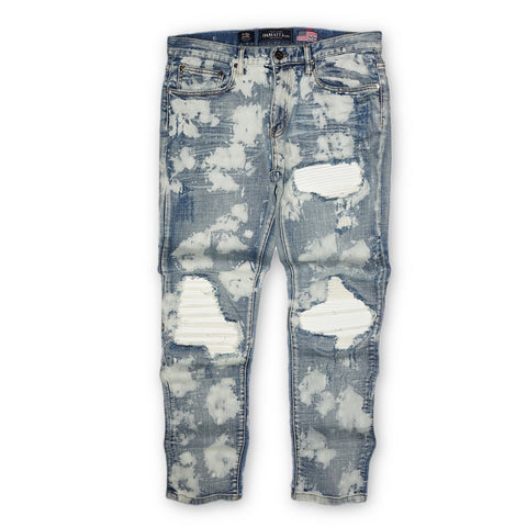 Distressed Biker Bleached Acid Denim (Blue) /