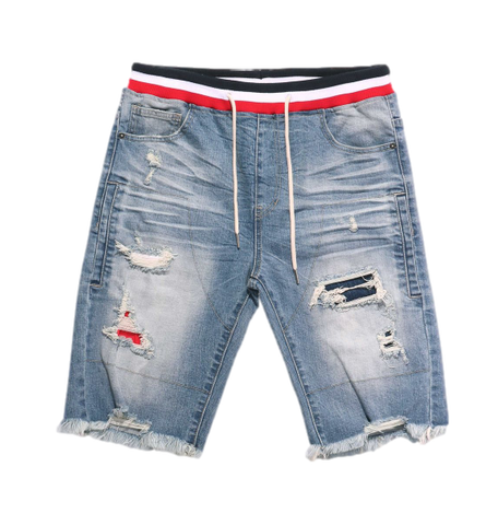 Distressed Denim String Shorts (Pearl Blue) /C4