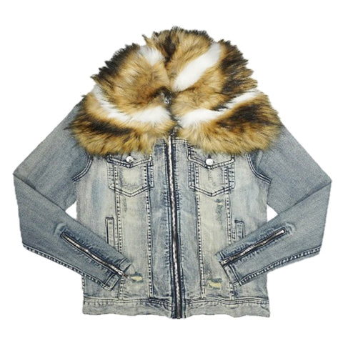 Ajax Denim Fur Jacket (Blue)