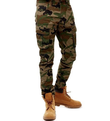 Camo Twill Cargo Pants (Wood Camo) / C3