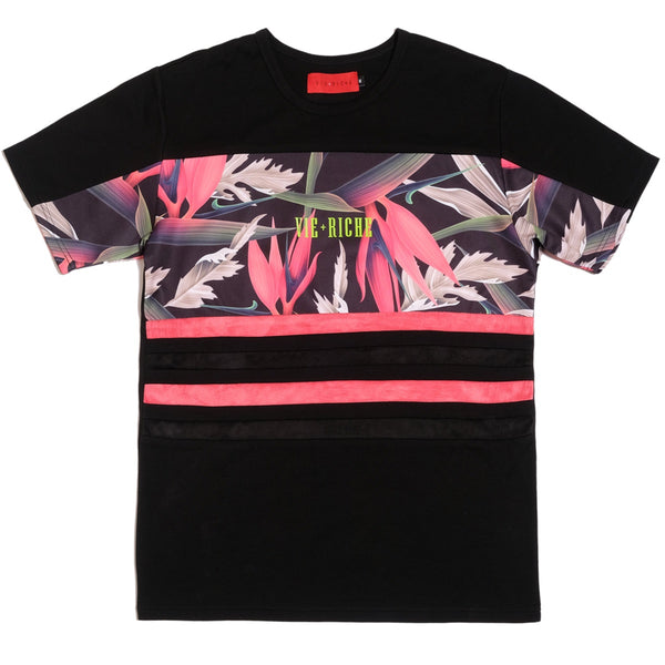 Floral Striped Tee (Black)
