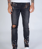 Print Stripe Denim W/ Paint Splatter (Dk. M. Grey) /C2