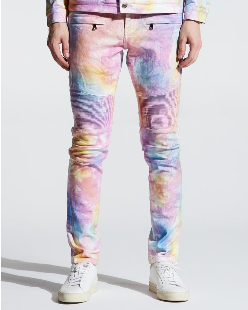 Biker Tie-Dye Wash Denim (Light Multi) /C3