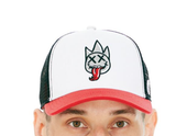 Tongue Mesh Back Trucker Hat (Wte/Gry/Red)