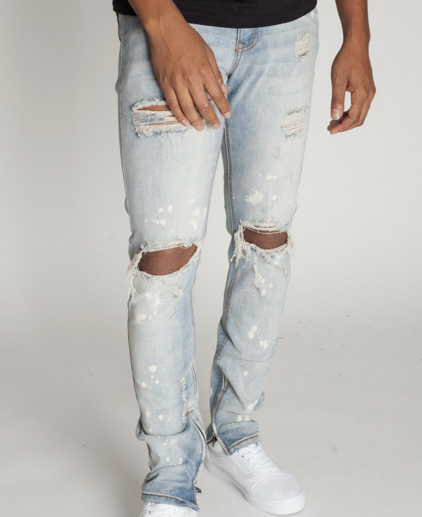 Distressed Bleach Ankle Zip Denim (Tinted Lt. Blue) /C9