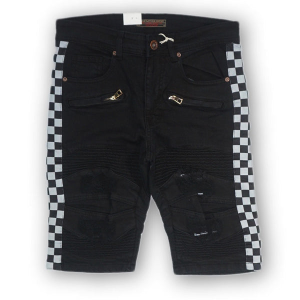 Biker Checker Stripe Shorts (Black) /C4
