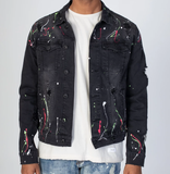 Destroyed Denim Jacket W/ Paint Splash (Dk. Med Grey)