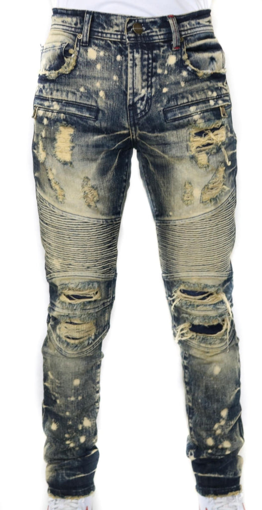 Distressed Biker Denim (Sahara Indigo) / C9