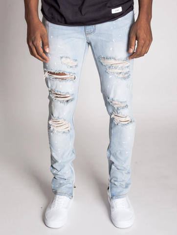 Paint Splatter Distressed Ankle Zip Denim (Lt.Blue) / C1