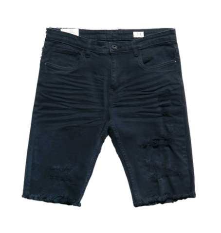 Distressed Twill Shorts (Navy) / C2