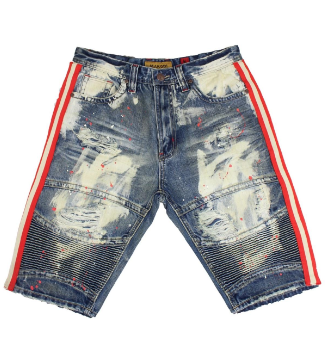 Distressed Biker Paint Stripe Shorts (Dirt Wash) /C8