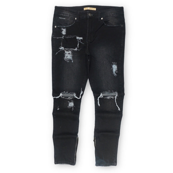 Distressed Skinny Denim (Black Wash) /C6