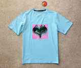 Money Heart Flocking Tee (Lt Blue) /D6