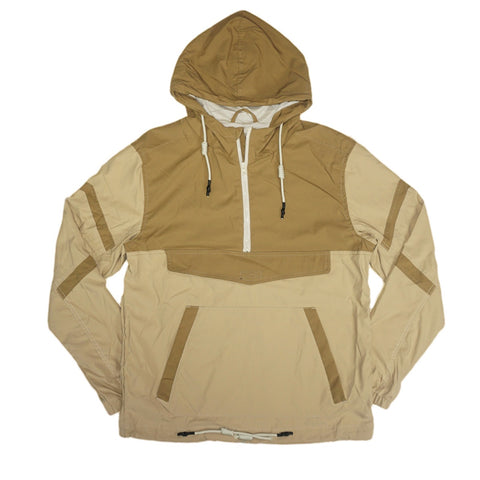 Pullover Striped Windbreaker Jacket (Khaki)