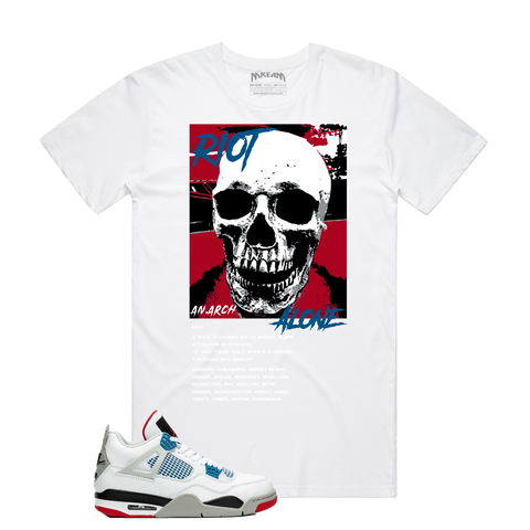 Riot Alone Red/Blue Tee (White) D11