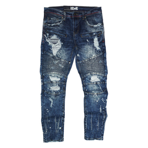Distressed Biker Denim (Vintage Vienna Indigo)/ C4