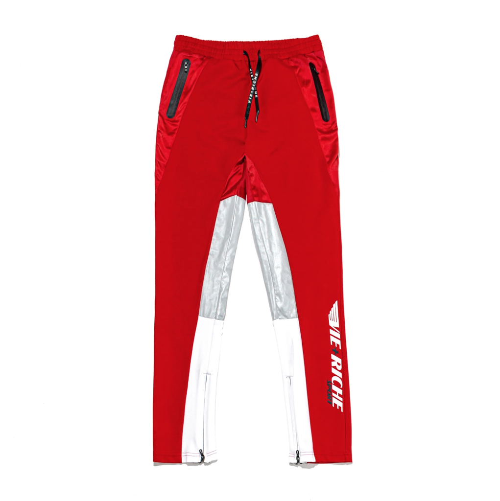 Color Block Zipper Track Pants (Red) /D3