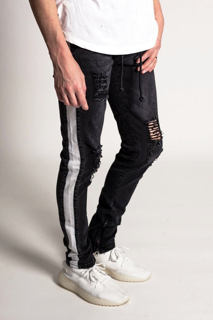 Striped Ankle Zip Denim (Black)/ C4