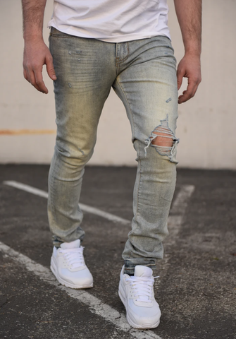 Mosey Distressed Stretch Denim (Lt. Blue) /C5