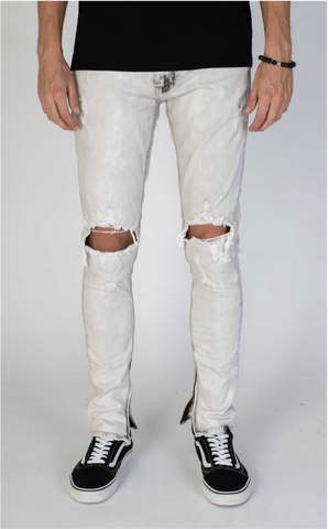 Knee Destroyed Ankle Zip Denim (Lt. Grey) /C3