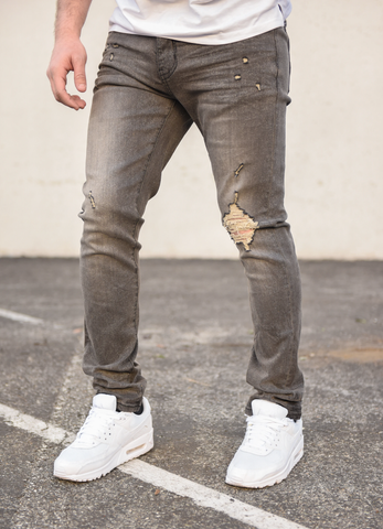 Mosey Distressed Stretch Denim (Grey) /C2