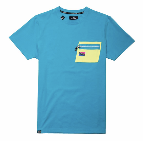 Contrast Color Tee (Blue/Lime) /D4