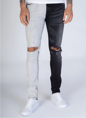 Distressed Contrast Denim (Black/Grey) /C8