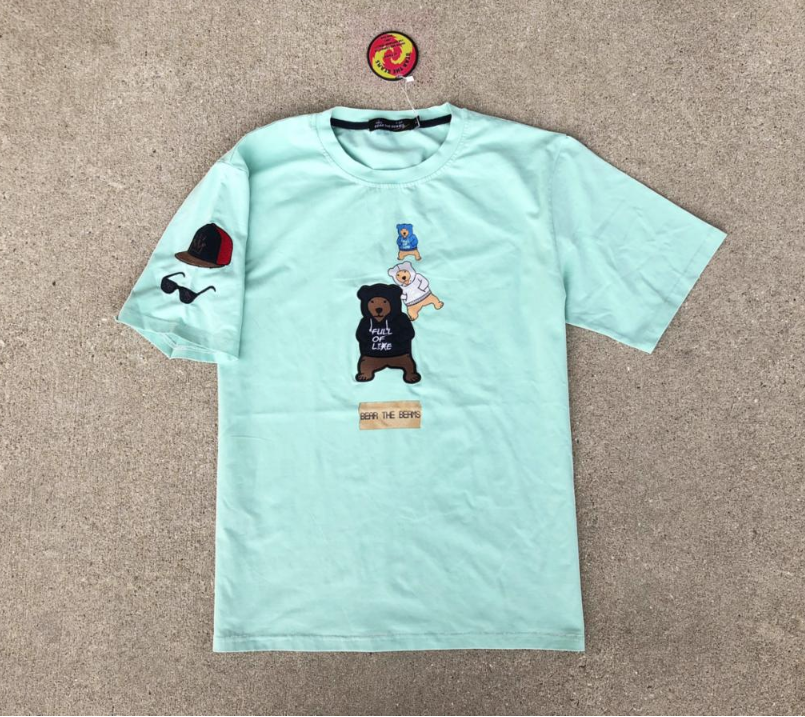 Bear Emb Patch Tee (Sea Moss) /D15