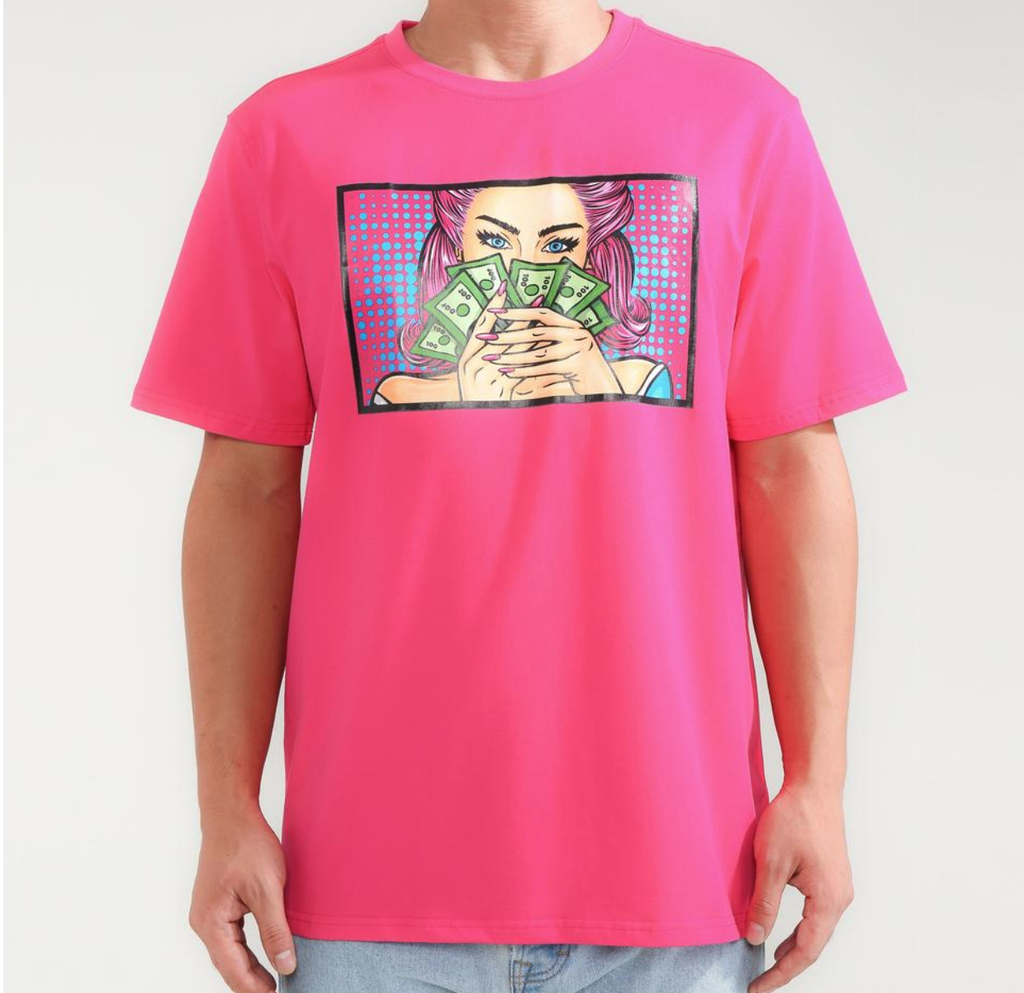 Money Peeking Tee (Pink) /D4