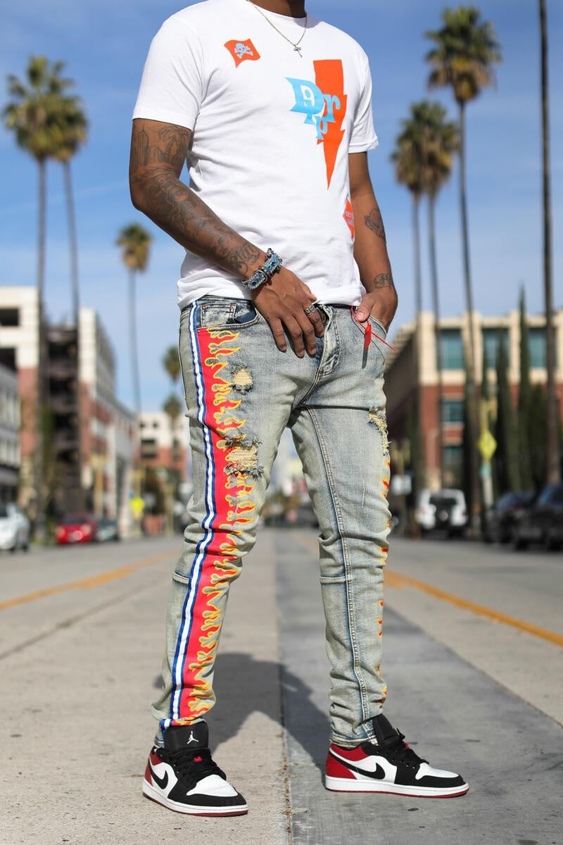 """Magma"" Stripe Jeans (Baby Blue/Red) /C2"