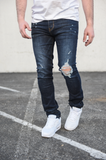 Mosey Distressed Stretch Denim (Dk. Blue) /C1