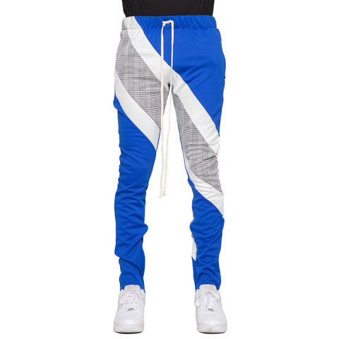 Plaid Block Track Pants (Blue/Wte) / C6