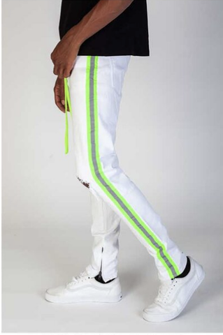 Safety Taped Stripe Denim (White/Lime) /C6