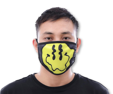Wavey Smile Face Mask (Black)